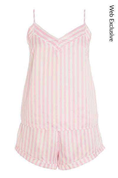 Pink Stripe Short Cami Pyjama Set